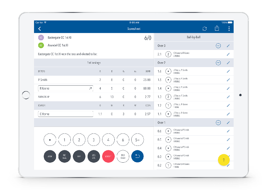 Adhoc Outlaws Scoring App with play-cricket.com